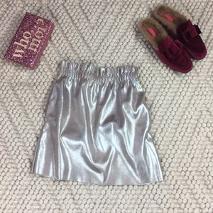 ZARA metallic gold/silver faux leather skirt